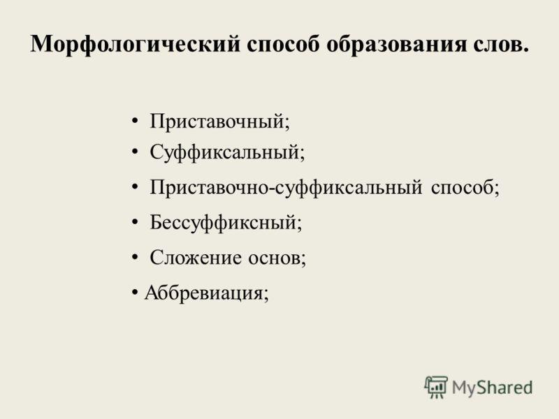 Морфологический способ образования слов. Приставочный; Суффиксальный; Бессуффиксный; Приставочно-суффиксальный способ; Сложение основ; Аббревиация;