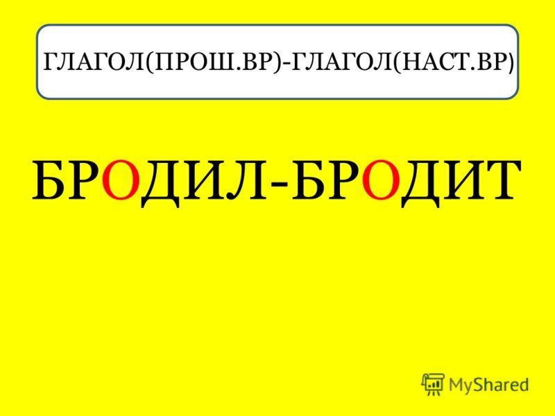 ГЛАГ ГЛАГОЛ(ПРОШ.ВР)-ГЛАГОЛ(НАСТ.ВР ) БРОДИЛ-БРОДИТ
