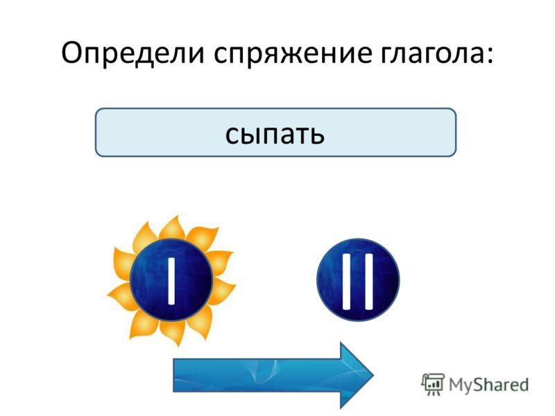 Определи спряжение глагола: сыпать I II