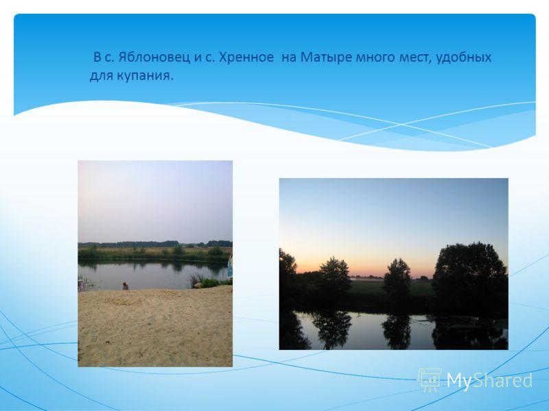 В с. Яблоновец и с. Хренное на Матыре много мест, удобных для купания.