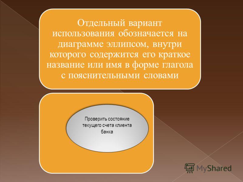 Отдельный вариант использования обозначается на диаграмме эллипсом, внутри которого содержится его краткое название или имя в форме глагола с пояснительными словами Проверить состояние текущего счета клиента банка