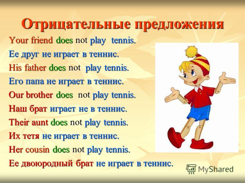 Отрицательные предложения Your friend does not play tennis. Ее друг не играет в теннис. His father does not play tennis. Его папа не играет в теннис. Our brother does not play tennis. Наш брат играет не в теннис. Their aunt does not play tennis. Их т