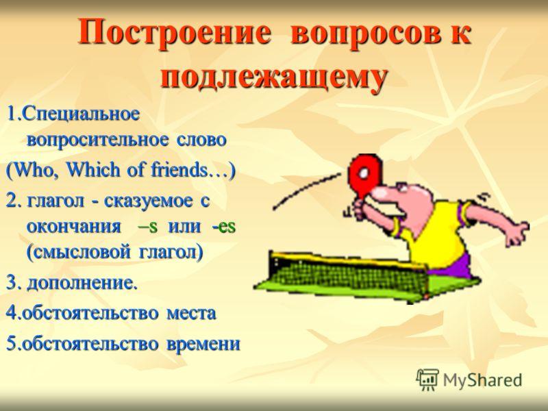 Построение вопросов к подлежащему 1.Специальное вопросительное слово (Who, Which of friends…) 2. глагол - сказуемое с окончания –s или -es (смысловой глагол) 3. дополнение. 4.обстоятельство места 5.обстоятельство времени