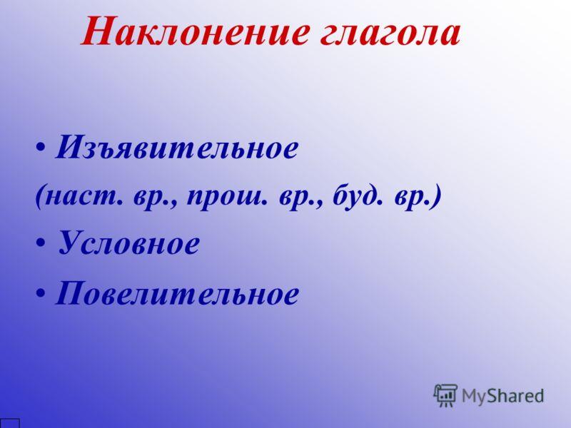 Наклонение глагола Изъявительное (наст. вр., прош. вр., буд. вр.) Условное Повелительное