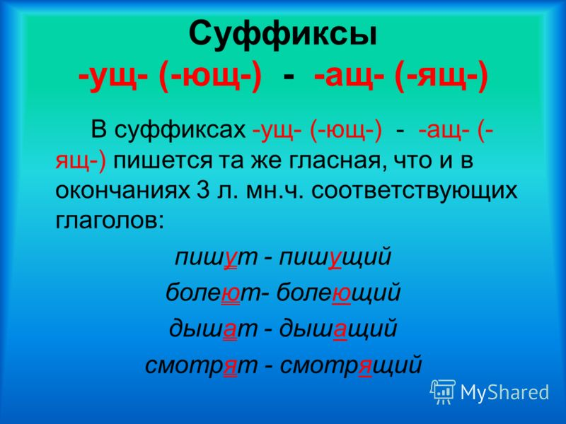 Суффиксы -ущ- (-ющ-) - -ащ- (-ящ-) В суффиксах -ущ- (-ющ-) - -ащ- (- ящ-) пишется та же гласная, что и в окончаниях 3 л. мн.ч. соответствующих глаголов: пишут - пишущий болеют- болеющий дышат - дышащий смотрят - смотрящий