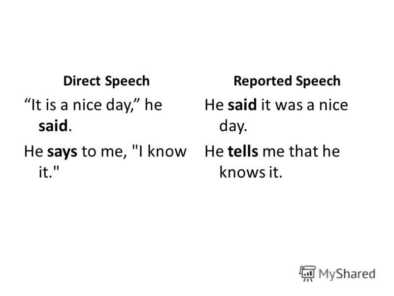 Direct Speech It is a nice day, he said. He says to me, I know it. Reported Speech He said it was a nice day. He tells me that he knows it.