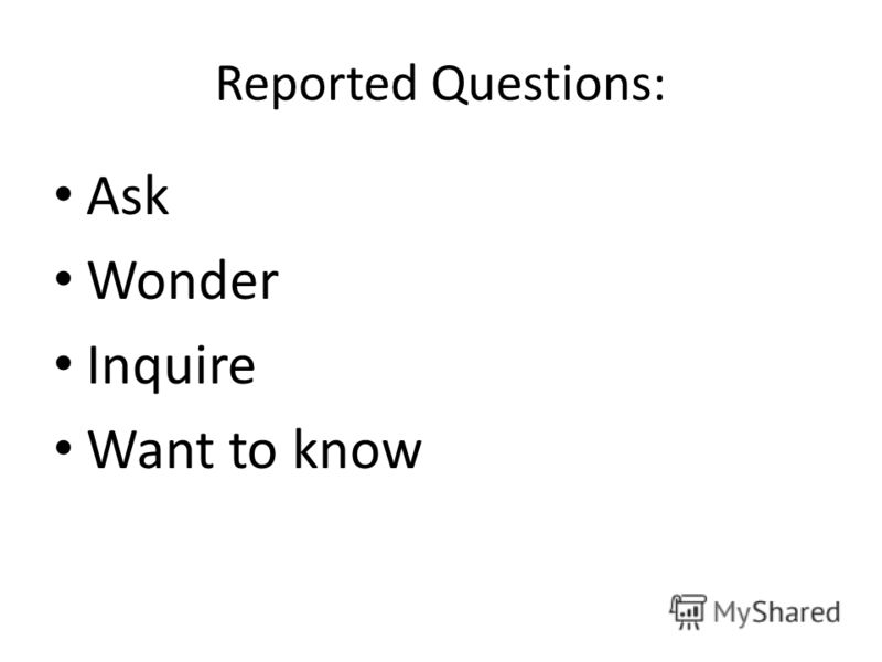 Reported Questions: Ask Wonder Inquire Want to know