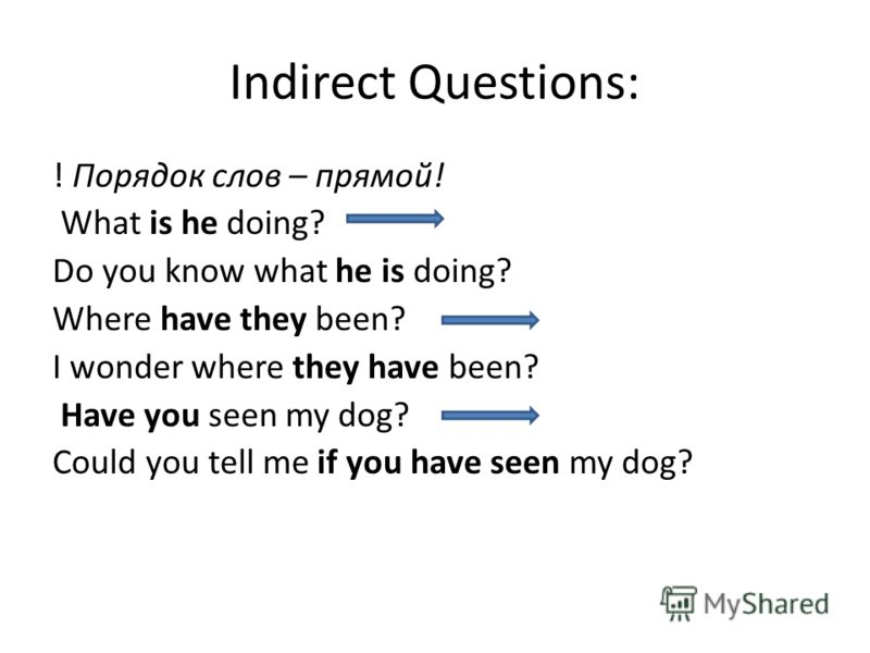 Indirect Questions: ! Порядок слов – прямой! What is he doing? Do you know what he is doing? Where have they been? I wonder where they have been? Have you seen my dog? Could you tell me if you have seen my dog?