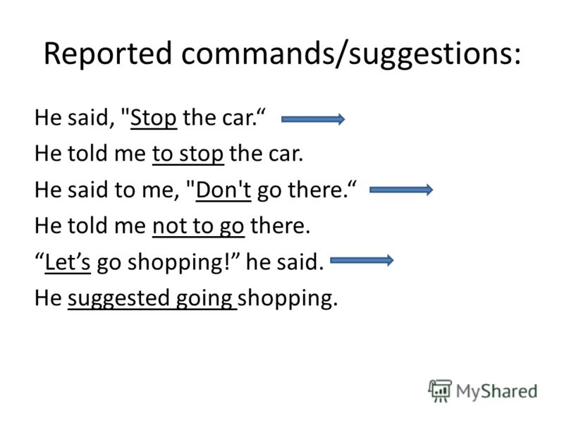 Reported commands/suggestions: He said, Stop the car. He told me to stop the car. He said to me, Don't go there. He told me not to go there. Lets go shopping! he said. He suggested going shopping.