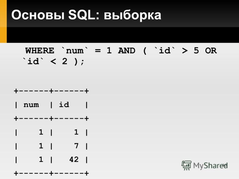 30 Основы SQL: выборка SELECT * FROM `table_name` WHERE `num` = 1 AND ( `id` > 5 OR `id` < 2 ); +------+------+ | num | id | +------+------+ | 1 | 1 | | 1 | 7 | | 1 | 42 | +------+------+