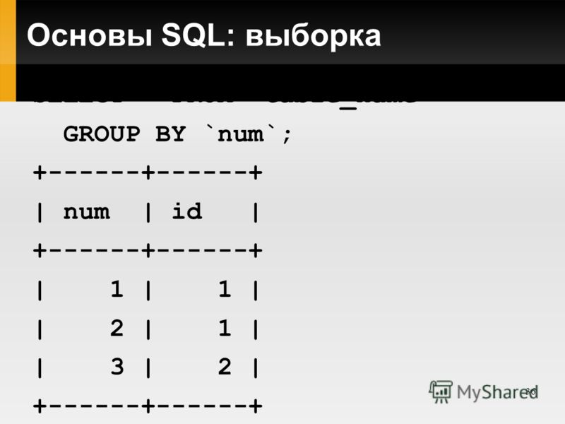 36 Основы SQL: выборка SELECT * FROM `table_name` GROUP BY `num`; +------+------+ | num | id | +------+------+ | 1 | 1 | | 2 | 1 | | 3 | 2 | +------+------+