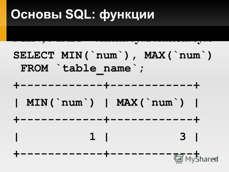 41 Основы SQL: функции MIN, MAX – минимум/максимум SELECT MIN(`num`), MAX(`num`) FROM `table_name`; +------------+------------+ | MIN(`num`) | MAX(`num`) | +------------+------------+ | 1 | 3 | +------------+------------+