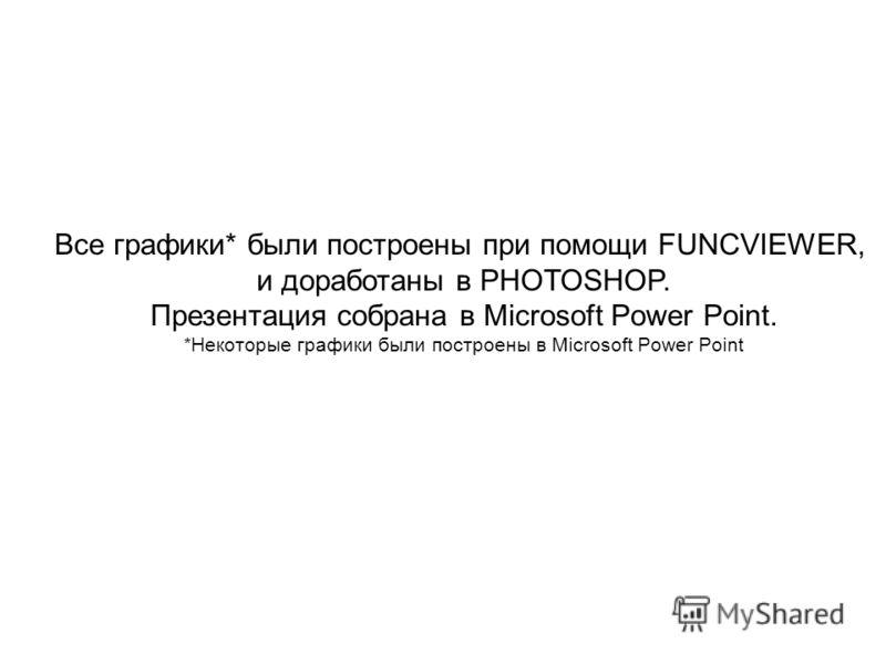 Все графики* были построены при помощи FUNCVIEWER, и доработаны в PHOTOSHOP. Презентация собрана в Microsoft Power Point. *Некоторые графики были построены в Microsoft Power Point