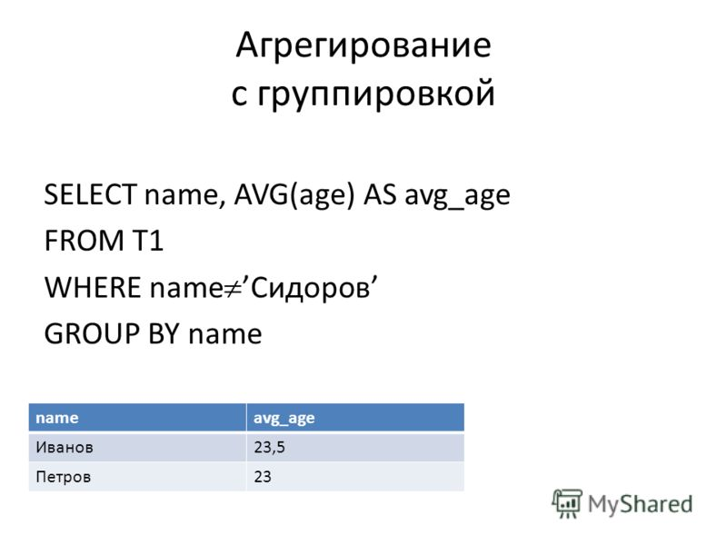 Агрегирование с группировкой SELECT name, AVG(age) AS avg_age FROM T1 WHERE nameСидоров GROUP BY name nameavg_age Иванов23,5 Петров23