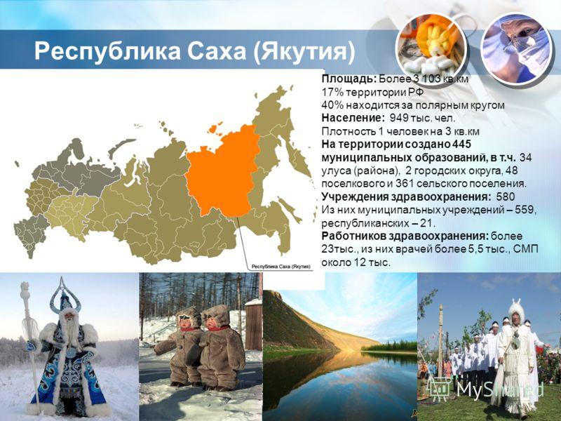 Республика Саха (Якутия) Площадь: Более 3 103 кв.км 17% территории РФ 40% находится за полярным кругом Население: 949 тыс. чел. Плотность 1 человек на 3 кв.км На территории создано 445 муниципальных образований, в т.ч. 34 улуса (района), 2 городских