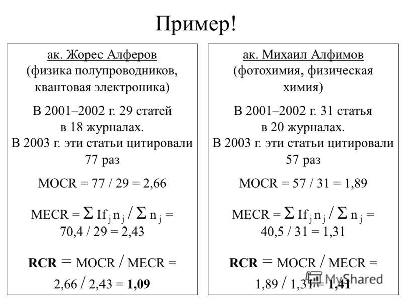 Пример! ак. Жорес Алферов (физика полупроводников, квантовая электроника) В 2001–2002 г. 29 статей в 18 журналах. В 2003 г. эти статьи цитировали 77 раз MOCR = 77 / 29 = 2,66 MECR = If j n j / n j = 70,4 / 29 = 2,43 RCR = MOCR / MECR = 2,66 / 2,43 =