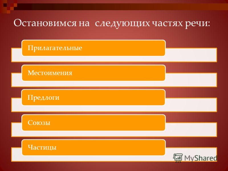 Остановимся на следующих частях речи: ПрилагательныеМестоименияПредлогиСоюзыЧастицы