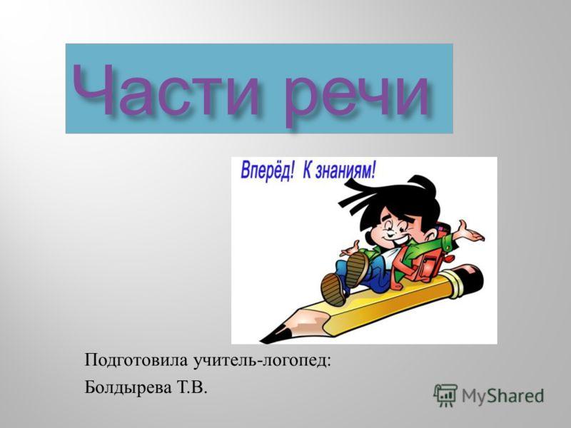 Части речи Подготовила учитель - логопед : Болдырева Т. В.