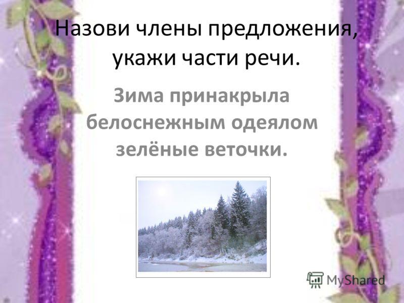 Назови члены предложения, укажи части речи. Зима принакрыла белоснежным одеялом зелёные веточки.