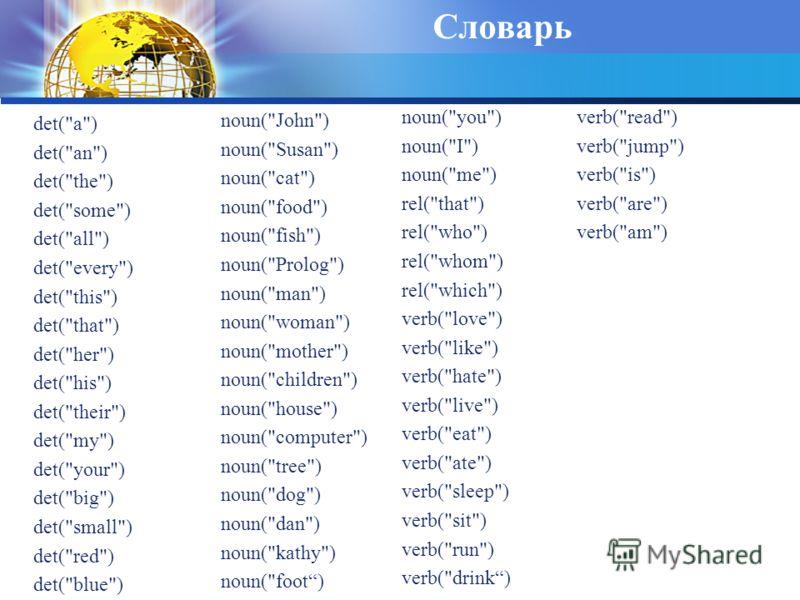 Словарь det(