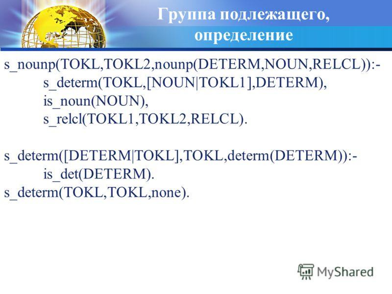 Группа подлежащего, определение s_nounp(TOKL,TOKL2,nounp(DETERM,NOUN,RELCL)):- s_determ(TOKL,[NOUN|TOKL1],DETERM), is_noun(NOUN), s_relcl(TOKL1,TOKL2,RELCL). s_determ([DETERM|TOKL],TOKL,determ(DETERM)):- is_det(DETERM). s_determ(TOKL,TOKL,none).