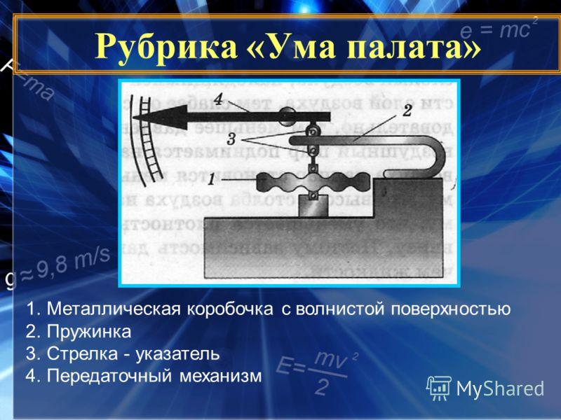 Рубрика «Ума палата» 1.Металлическая коробочка с волнистой поверхностью 2.Пружинка 3.Стрелка - указатель 4.Передаточный механизм
