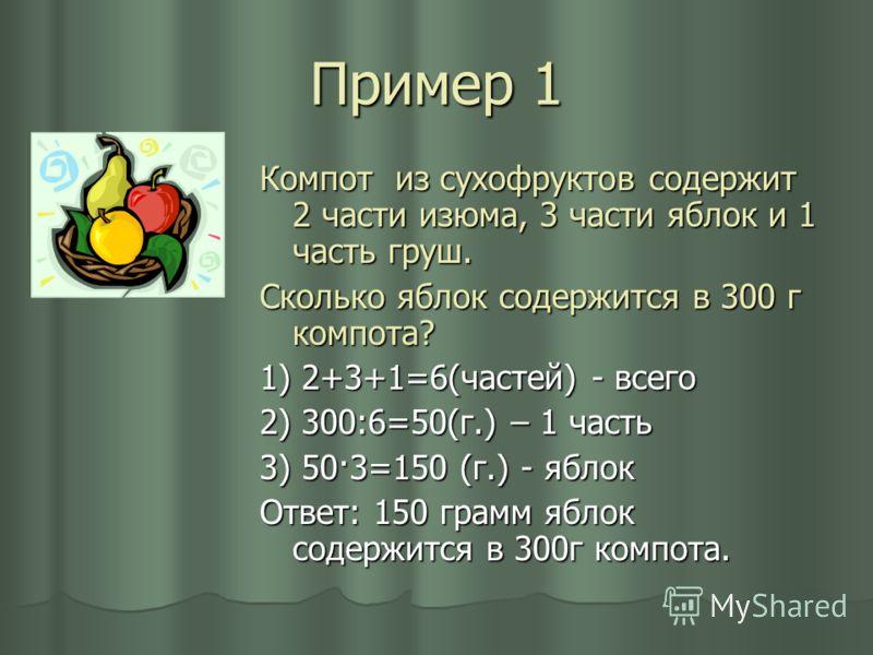 Пример 1 Компот из сухофруктов содержит 2 части изюма, 3 части яблок и 1 часть груш. Сколько яблок содержится в 300 г компота? 1) 2+3+1=6(частей) - всего 2) 300:6=50(г.) – 1 часть 3) 50·3=150 (г.) - яблок Ответ: 150 грамм яблок содержится в 300г комп