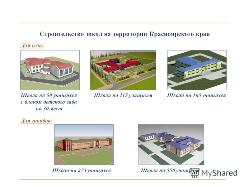 Строительство школ на территории Красноярского края Школа на 50 учащихся с блоком детского сада на 30 мест Школа на 115 учащихсяШкола на 165 учащихся Школа на 275 учащихсяШкола на 550 учащихся Для села: Для городов: