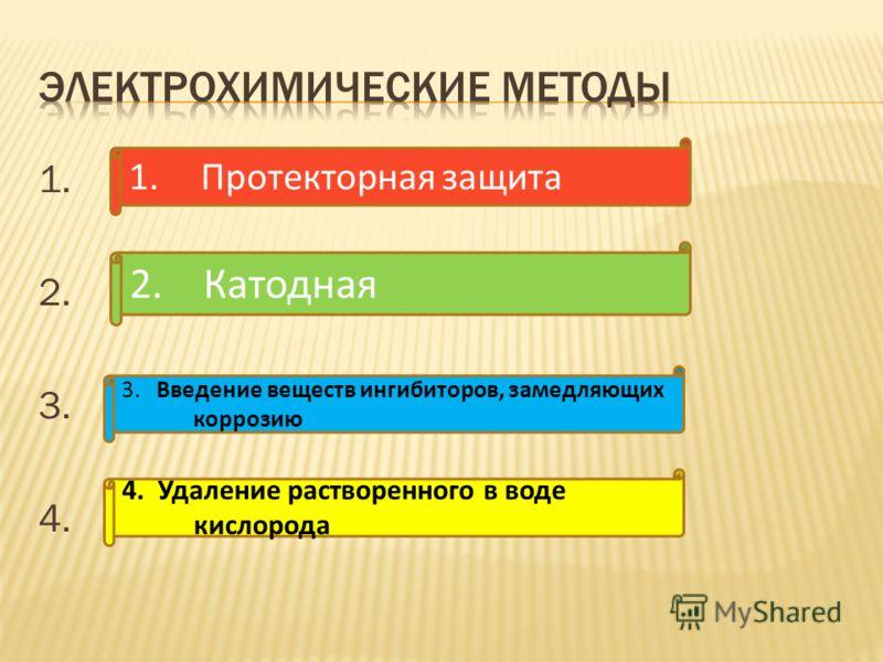 1. 2. 3. 4. 1.Протекторная защита 2. Катодная 3. Введение веществ ингибиторов, замедляющих коррозию 4. Удаление растворенного в воде кислорода