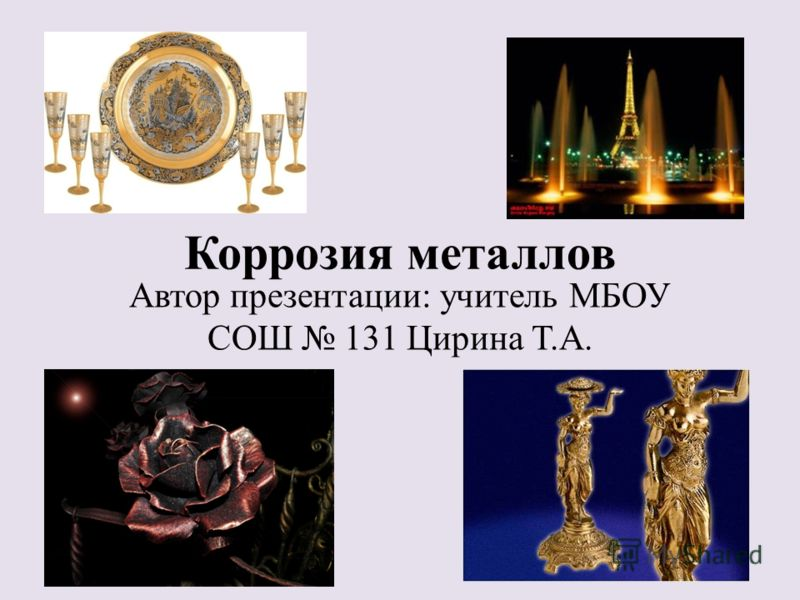 Коррозия металлов Автор презентации: учитель МБОУ СОШ 131 Цирина Т.А.