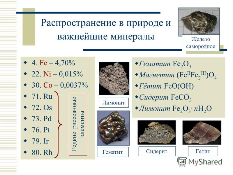 Распространение в природе и важнейшие минералы 4. Fe – 4,70% 22. Ni – 0,015% 30. Co – 0,0037% 71. Ru 72. Os 73. Pd 76. Pt 79. Ir 80. Rh Гематит Fe 2 O 3 Магнетит (Fe II Fe 2 III )O 4 Гётит FeO(OH) Сидерит FeCO 3 Лимонит Fe 2 O 3. nH 2 O Редкие рассея
