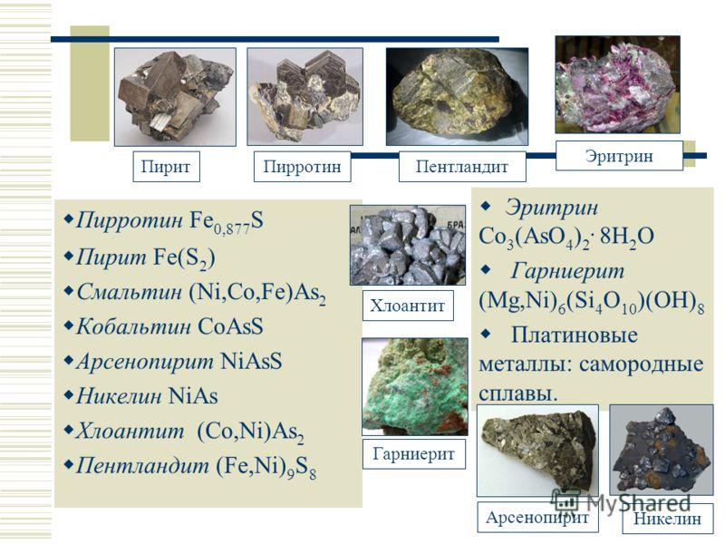 Халькогениды Пирротин Fe 0,877 S Пирит Fe(S 2 ) Смальтин (Ni,Co,Fe)As 2 Кобальтин CoAsS Арсенопирит NiAsS Никелин NiAs Хлоантит (Co,Ni)As 2 Пентландит (Fe,Ni) 9 S 8 Эритрин Co 3 (AsO 4 ) 2. 8H 2 O Гарниерит (Mg,Ni) 6 (Si 4 O 10 )(OH) 8 Платиновые мет
