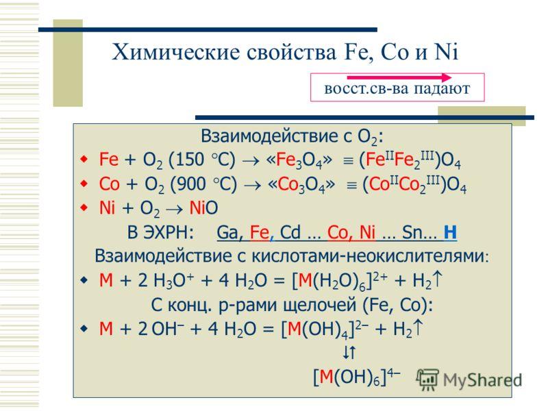 Химические свойства Fe, Co и Ni Взаимодействие с O 2 : Fe + O 2 (150 °C) «Fe 3 O 4 » (Fe II Fe 2 III )O 4 Co + O 2 (900 °C) «Co 3 O 4 » (Co II Co 2 III )O 4 Ni + O 2 NiO В ЭХРН: Ga, Fe, Cd … Co, Ni … Sn… H Взаимодействие с кислотами-неокислителями :