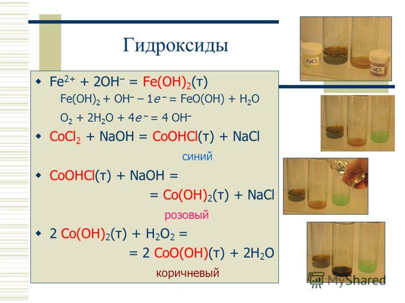 Гидроксиды Fe 2+ + 2OH – = Fe(OH) 2 (т) Fe(OH) 2 + OH – – 1e – = FeO(OH) + H 2 O O 2 + 2H 2 O + 4e – = 4 OH – CoCl 2 + NaOH = CoOHCl(т) + NaCl синий CoOHCl(т) + NaOH = = Co(OH) 2 (т) + NaCl розовый 2 Co(OH) 2 (т) + H 2 O 2 = = 2 CoO(OH)(т) + 2H 2 O к