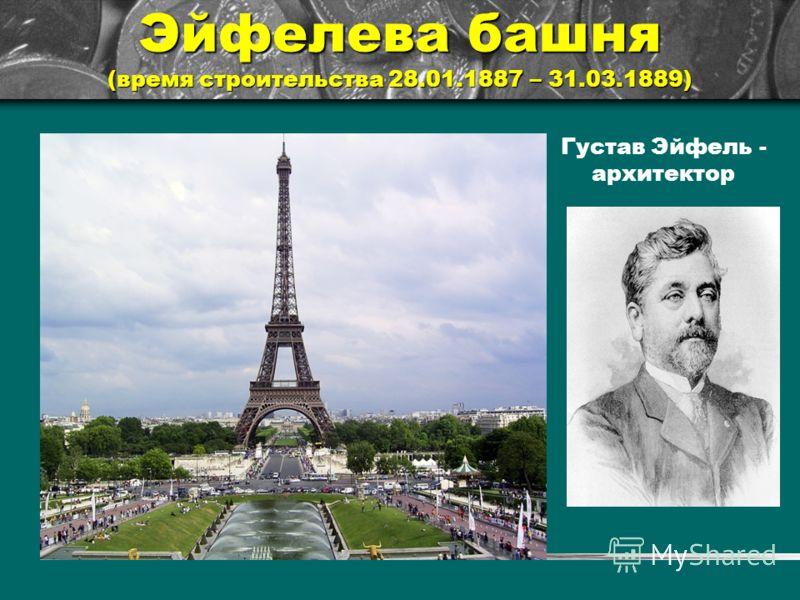 Эйфелева башня (время строительства 28.01.1887 – 31.03.1889) Густав Эйфель - архитектор