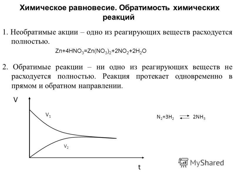 Химическое равновесие. Обратимость химических реакций 1. Необратимые акции – одно из реагирующих веществ расходуется полностью. Zn+4HNO 3 =Zn(NO 3 ) 2 +2NO 2 +2H 2 O 2. Обратимые реакции – ни одно из реагирующих веществ не расходуется полностью. Реак