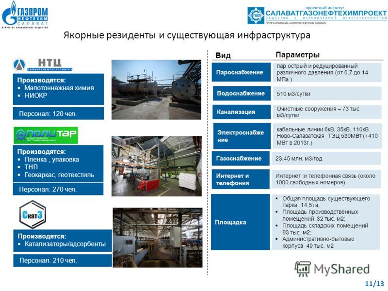 Проектный офис «Центр газовой химии» | 11 Производятся: Малотоннажная химия НИОКР Производятся: Пленка, упаковка ТНП Геокаркас, геотекстиль Персонал: 120 чел. Персонал: 270 чел. Производятся: Катализаторы/адсорбенты Персонал: 210 чел. Якорные резиден
