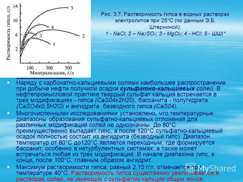 Рис. 3.7. Растворимость гипса в водных растворах электролитов при 25°С (по данным Э.Б. Штерниной): 1 - NaСl; 2 – Na 2 SO 4 ; 3 - МgСl 2 ; 4 - НСl; 5 - ШШ)* Сульфатные соли Наряду с карбонатно-кальциевыми солями наибольшее распространение при добыче