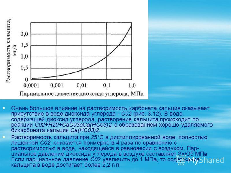 Очень большое влияние на растворимость карбоната кальция оказывает присутствие в воде диоксида углерода - С02 (рис. 3.12). В воде, содержащей диоксид углерода, растворение кальцита происходит по реакции С02+Н20+СаС03оСа(НС03)2 с образованием хорошо