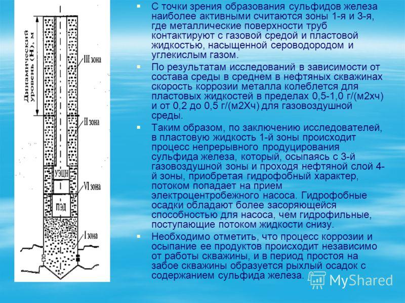 С точки зрения образования сульфидов железа наиболее активными считаются зоны 1-я и 3-я, где металлические поверхности труб контактируют с газовой средой и пластовой жидкостью, насыщенной сероводородом и углекислым газом. По результатам исследований