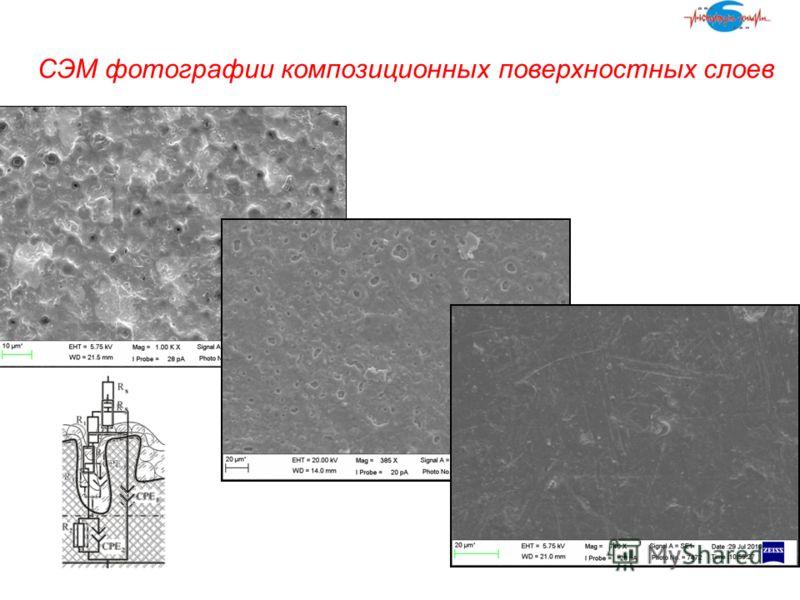 СЭМ фотографии композиционных поверхностных слоев