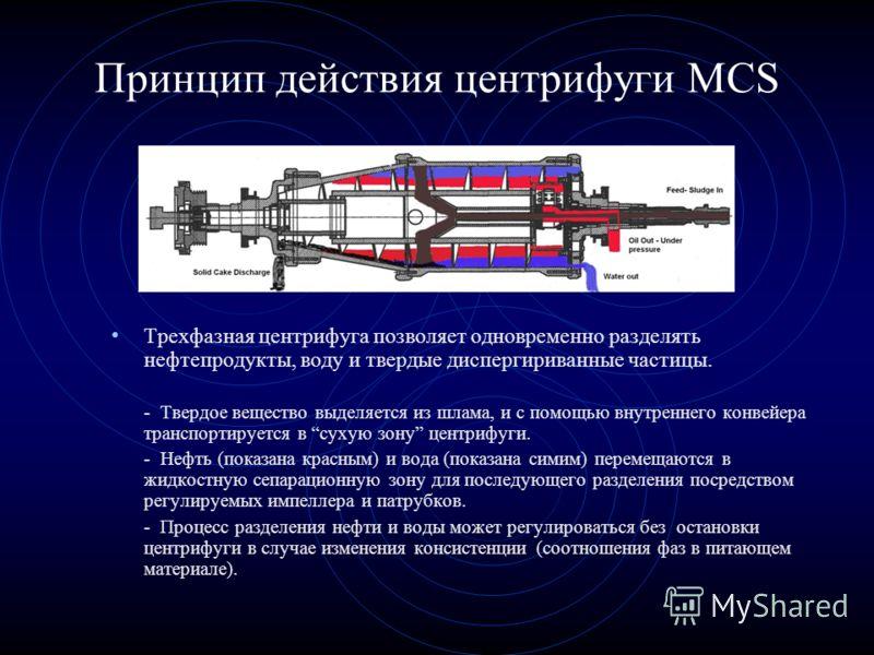 Принцип действия центрифуги MCS Трехфазная центрифуга позволяет одновременно разделять нефтепродукты, воду и твердые диспергириванные частицы. - Твердое вещество выделяется из шлама, и с помощью внутреннего конвейера транспортируется в сухую зону цен