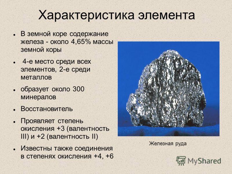 Характеристика элемента В земной коре содержание железа - около 4,65% массы земной коры 4-е место среди всех элементов, 2-е среди металлов образует около 300 минералов Восстановитель Проявляет степень окисления +3 (валентность III) и +2 (валентность