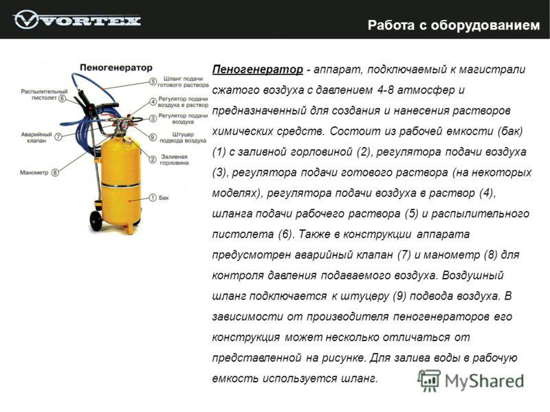 Пеногенератор - аппарат, подключаемый к магистрали сжатого воздуха с давлением 4-8 атмосфер и предназначенный для создания и нанесения растворов химических средств. Состоит из рабочей емкости (бак) (1) с заливной горловиной (2), регулятора подачи воз
