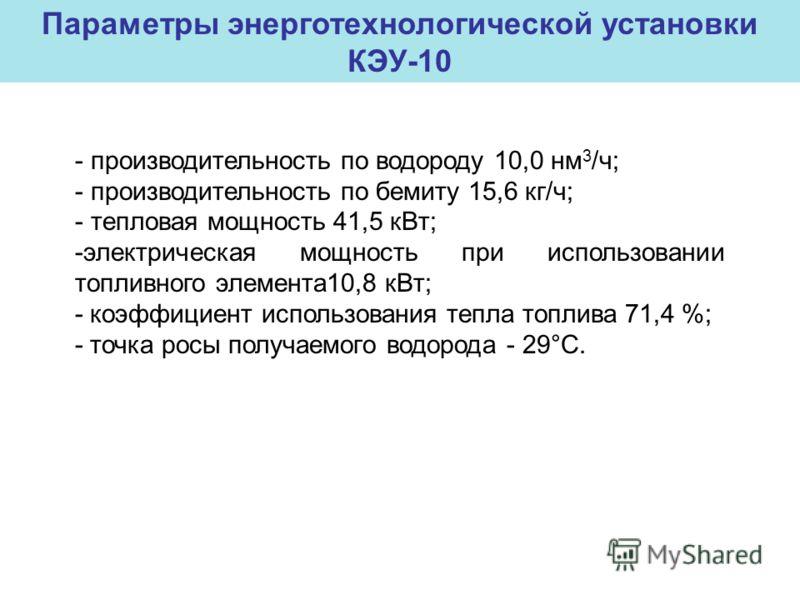 - производительность по водороду 10,0 нм 3 /ч; - производительность по бемиту 15,6 кг/ч; - тепловая мощность 41,5 кВт; -электрическая мощность при использовании топливного элемента10,8 кВт; - коэффициент использования тепла топлива 71,4 %; - точка ро