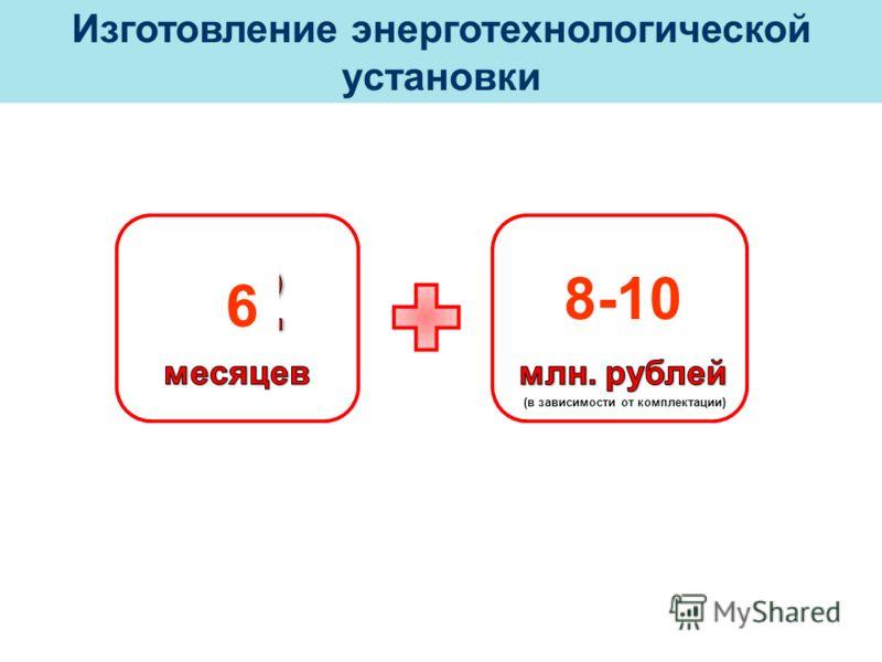 Изготовление энерготехнологической установки 6 8-10 (в зависимости от комплектации)