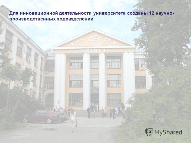 Для инновационной деятельности университета созданы 12 научно- производственных подразделений
