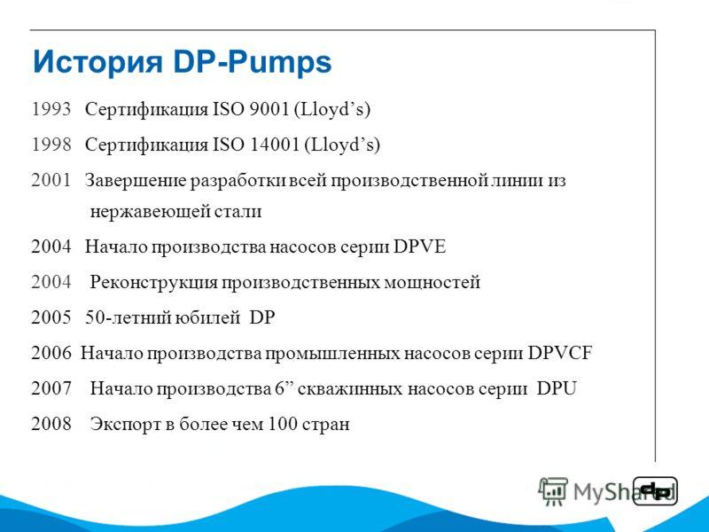 История DP-Pumps 1993 Сертификация ISO 9001 (Lloyds) 1998 Сертификация ISO 14001 (Lloyds) 2001 Завершение разработки всей производственной линии из нержавеющей стали 2004 Начало производства насосов серии DPVE 2004Реконструкция производственных мощно