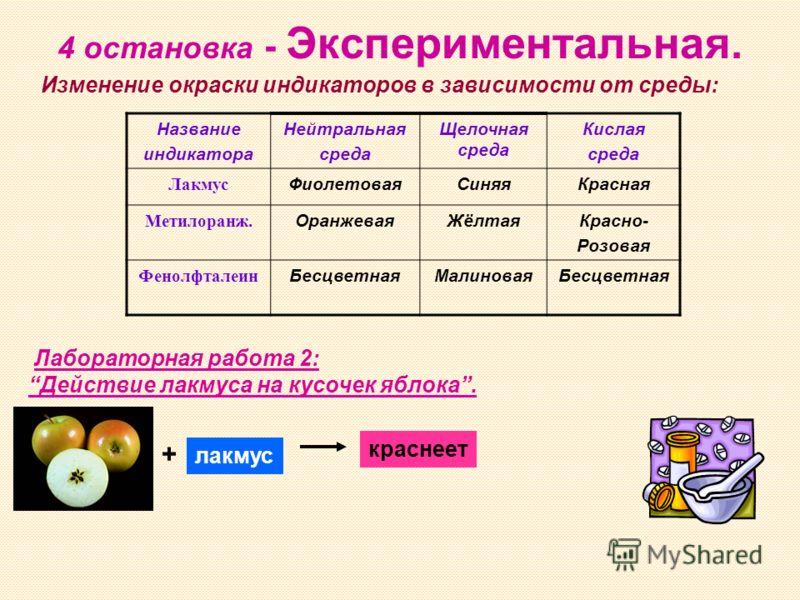4 остановка - Экспериментальная. Название индикатора Нейтральная среда Щелочная среда Кислая среда Лакмус ФиолетоваяСиняяКрасная Метилоранж. ОранжеваяЖёлтаяКрасно- Розовая Фенолфталеин БесцветнаяМалиноваяБесцветная Лабораторная работа 2: Действие лак