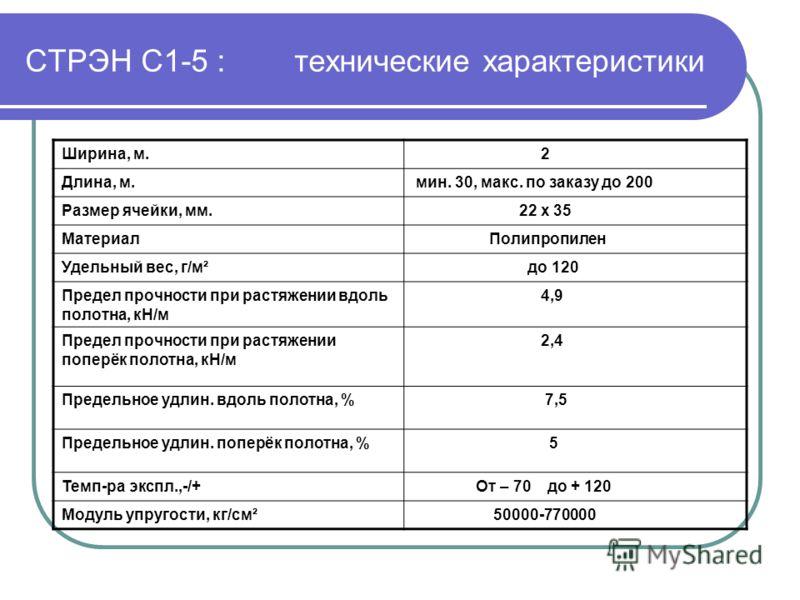 СТРЭН С1-5 : технические характеристики Ширина, м. 2 Длина, м. мин. 30, макс. по заказу до 200 Размер ячейки, мм. 22 х 35 Материал Полипропилен Удельный вес, г/м² до 120 Предел прочности при растяжении вдоль полотна, кН/м 4,9 Предел прочности при рас